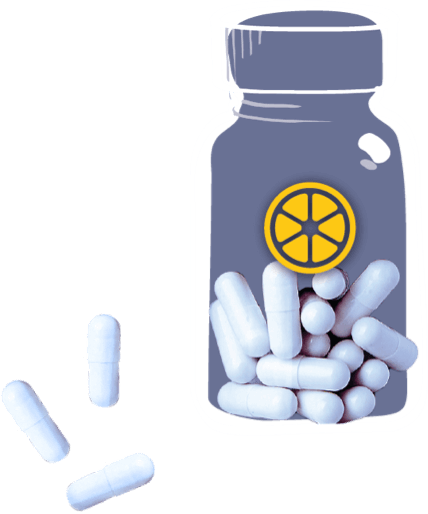 Pills with Lemonaid Logo on the bottle